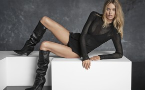 Picture look, girl, pose, model, boots, legs, beauty, jacket, Martha Hunt