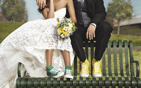 Picture bench, sneakers, bouquet, dress, the bride, the couple, the groom