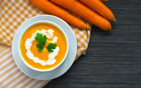 Picture greens, carrots, sour cream, soup, The first dish