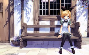 Picture street, window, girl, bow, the maid, art, ueda ryou, on the bench, the house