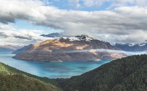 Picture clouds, landscape, mountains, lake, mountain