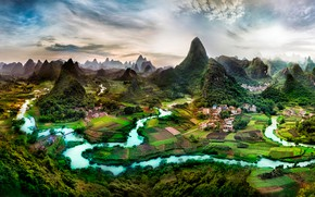 Picture greens, trees, mountains, river, field, home, valley, panorama, China, plantation, Guangxi
