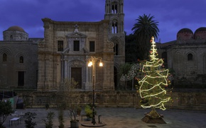 Picture lights, holiday, tree, New Year, Christmas, Italy, Palermo, Martorana