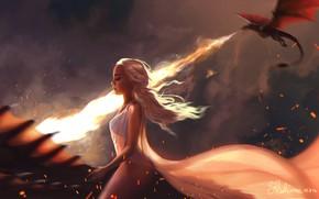 Picture dragon, art, flight, game of thrones, Khaleesi, Mother of Dragons, Daenerys Targaryen, fantasy, Pauline Voss