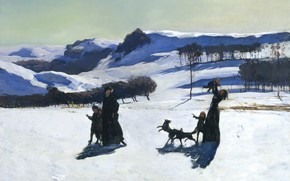 Picture snow, landscape, mountains, picture, Rockwell Kent, Rockwell Kent, Winter in the Berkshire hills, Snow Fields
