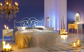 Wallpaper design, fire, bed, pillow, candles, mirror, chandelier, bed, curtains, bedroom