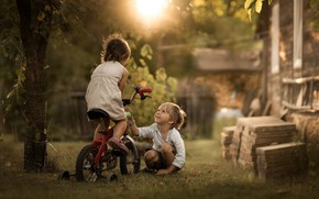 Picture bike, children, childhood, the game
