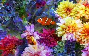 Wallpaper collage, fish, petals, line, flowers
