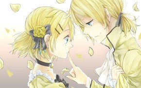 Picture girl, petals, guy, two, tear, Vocaloid, Vocaloid, Kagamine Len, Kagamine Rin