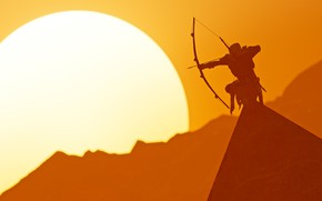 Picture the sun, bow, pyramid, Archer, Ubisoft Montreal, Action-adventure, Assassin's Creed Origins
