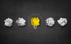 Wallpaper Minimalism, Figure, Paper, Light bulb