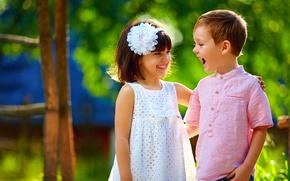 Picture summer, joy, children, smile, boy, dress, girl, friends, Smile, children, Dress, Boys, Little girls