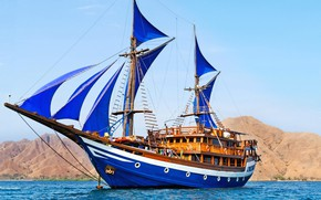 Picture sea, the sky, ship, sails, blue