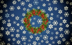 Picture Winter, Minimalism, Snow, New Year, Christmas, Snowflakes, Background, Rowan, Holiday, Wreath, Holiday wreath