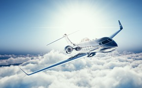 Wallpaper the sky, clouds, flight, the plane, height, blur, airplane, bokeh, wallpaper., beautiful background, private jet, ...