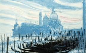 Wallpaper Venice, the urban landscape, Cathedral, gondola, boats, picture, Andre Brasilier