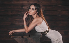 Picture girl, makeup, figure, dress, hairstyle, belt, brown hair, beautiful, in white, posing