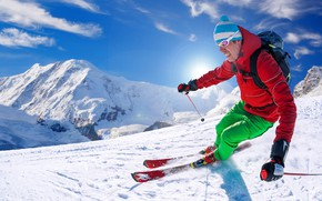 Picture winter, the sky, the sun, snow, mountains, the descent, sport, hat, ski, stick, slope, glasses, …