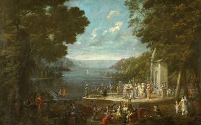 Picture landscape, oil, picture, canvas, Jean-baht van Moore could, Women at the Picnic in Unkar Iskelesi …