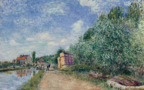 Picture landscape, house, river, picture, Alfred Sisley, Alfred Sisley, The Loing Channel. Tow-Path