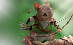 Picture forest, rendering, mouse, bow, master, arrows, Robin Hood, children's, art. fantasy, bumoun lee, The Rodents(Archer_Mouse)