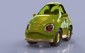 Picture art, machine, children's, Cartoon Cherry Red Stylized Car, Jonathan Israel Johnson