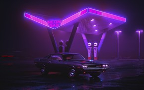 Wallpaper Auto, Night, Neon, Retro, Machine, Background, Dodge, Dressing, Charger, 1970, Neon, Dodge Charger, Dodge Charger ...