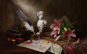 Picture notes, pen, books, Lily, tape, figurine, still life, paper