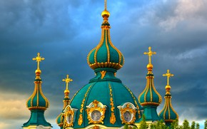 Picture the sky, clouds, trees, clouds, Church, temple, ornament, Ukraine, dome, Kiev, St. Andrew Church