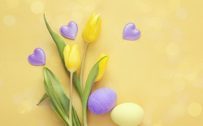 Picture flowers, spring, Easter, hearts, tulips, wood, flowers, hearts, tulips, spring, Easter, eggs, decoration, Happy, the …