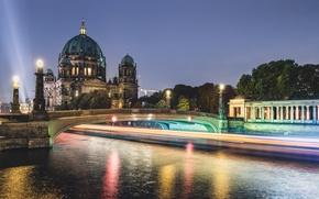 Picture Home, Night, Germany, Lights, Berlin, River Bridge