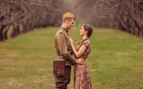 Picture girl, retro, meeting, soldiers, guy, pussy, tunic