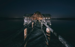 Picture night, bridge, lake, house