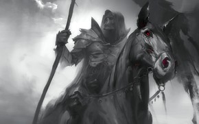Wallpaper Sawan, Death, Dark Soul, black horse, fear, red eyes, the black knight, horseman of the ...