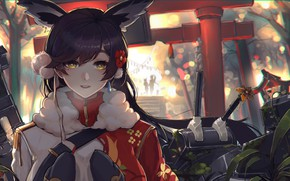 Wallpaper azur lane, girl, look, weapons