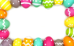 Wallpaper decoration, colorful, frame, Easter, Easter, the painted eggs, frame, Happy, spring, eggs