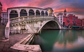 Picture Italy, Venice, channel, Italy, sunset, Venice, Panorama, channel, Grand Canal, Rialto Bridge, San Bartolomeo Church