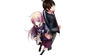 Picture girl, music, guitar, guy, Sayonara Piano Sonata