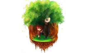 Picture girl, tree, anime, art, fascinator, Mahou Tsukai no Yome, Bride of the sorcerer