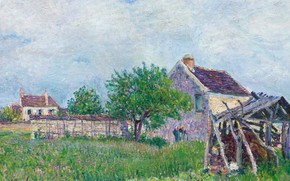 Picture landscape, picture, Alfred Sisley, Alfred Sisley, Old Shack in the Sablon