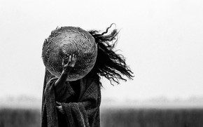 Picture girl, the wind, hair, hat, b/W