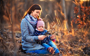 Picture branches, nature, woman, mom, child, Verba, mother