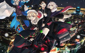 Picture the city, Christmas, anime, art, characters, Fate / Grand Order