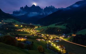 Picture valley, the village, night, mountains, light, Alps