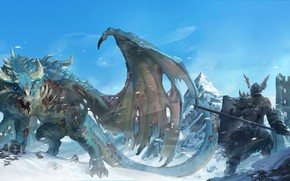 Picture fantasy, Dragon, tower, armor, weapon, wings, tail, mountains, snow, ruins, castle, digital art, artwork, warrior, ...