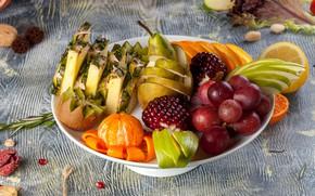 Picture orange, kiwi, grapes, pear, fruit, pineapple, garnet, Mandarin, cuts