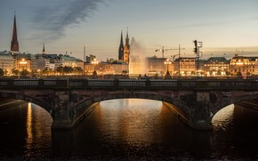 Picture the sky, bridge, lights, river, building, home, the evening, Germany, lights, Hamburg