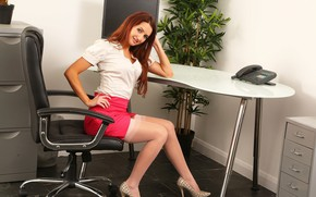 Picture girl, pose, smile, feet, skirt, blouse, red, sitting, Gina B