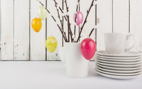 Picture Branches, Easter, Eggs, Vase, Holiday