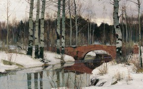 Wallpaper canvas, picture, Richard Bergholz, bridge, oil, The thaw in Gatchina, landscape